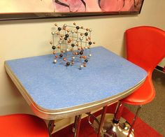 1950's Blue Formica Refurbished Half Table or Retro by HUEisit