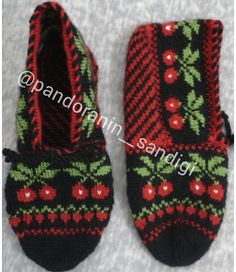 Another cherry ends . 🍒🍒🍒🍒🍒🍒 # beşşişpatik that the the Origami Patterns, Easy Knitting Patterns, Elsa, Diy And Crafts, Slippers, Cherry, Christmas Ornaments, Crochet, Model