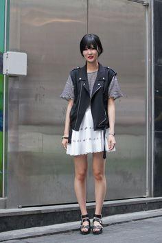 black biker vest with white girly bottom