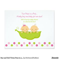 "Boy and Girl Twins Peas in a Pod Invitation 4.25"" X 5.5"" Invitation Card"