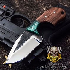 ALONZO KNIVES USA CUSTOM HANDMADE TACTICAL NECK 1095 KNIFE ROSE WOOD 3127 #AlonzoKnives