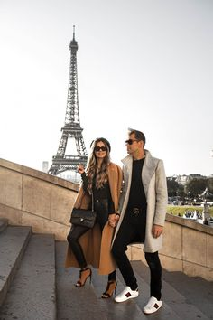 fashion blogger mia mia mine with husband phil thompson at the eiffel tower in paris. Click through to see more cute couple outfits, matching couple outfits, and more. #couplegoals #matchingcouples #cutecouples White Leather Pants, Spanx Faux Leather Leggings, Cute Couple Outfits, Trendy Outfits, Vinyl Leggings, Christian Louboutin So Kate, Camel Coat, Denim Outfit, Black Bodysuit