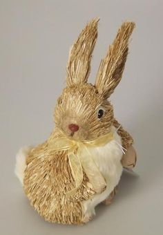 Gisela Graham - Bristle Brown Bunny with Yellow Bow Ornament
