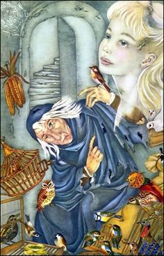 jorinda and joringal. An illustration from a book if Russian fairy tales I had as a child. Segur illustrated the entire book. gorgeous!