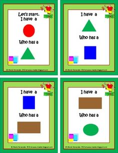 I Have Who Has-Basic Shapes and Color Match