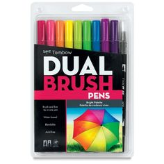 Tombow dual brush markers - water soluble and good for journaling
