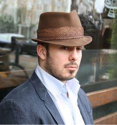 572cd84e9a7 fish leather trimmed hat braun liver colour pork pie hat Fedora Fashion