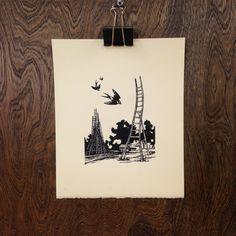 The Ladder-Builder's House  5x7 Letterpress by boundstaffpress