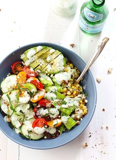 Rainbow Veggie Bowl: with snap peas, cucumber, cherry tomatoes, sprouted lentils, farro, jalapeño-ranch dressing