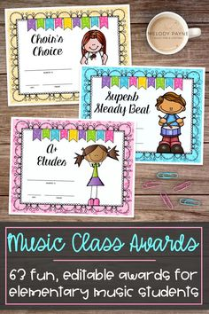 These vibrant and adorable music award certificates are the perfect way to recognize your elementary students for their hard work and dedication to music! The set includes awards for piano students, violin students, the music classroom, ensembles, and more! Perfect for a recital, awards ceremony, concert, or end-of-year program, or as special recognition for your music class kids.