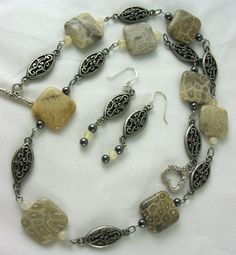 Beige fossil coral with Decorative Metal Necklace and Earrings. $35.00, via Etsy. JazzitupwithDesigns
