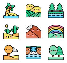 icon packs of nature Cute Food Drawings, Mini Drawings, Cute Kawaii Drawings, Cool Art Drawings, Kawaii Doodles, Cute Doodles, Cute Doodle Art, Cute Art, Homemade Stickers