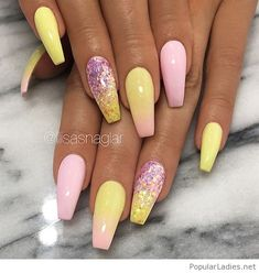 Pink and yellow gel nails