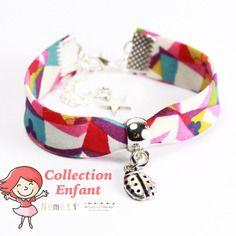 Bracelet liberty enfant fille - taille 4/7 ans - tissu multicolore et coccinelle - cadeau porte bonheur petite