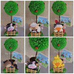 Imagem relacionada Farm Animal Birthday, Farm Birthday, Baby Birthday Cakes, Boy Birthday Parties, Safari Centerpieces, Birthday Souvenir, Cd Crafts, Farm Party, Farm Theme