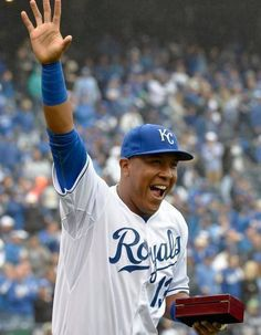 Kansas City Royals catcher Salvador Perez was all smiles after receiving his ALCS ring Monday, April 6, 2015, at the Kansas City Royals season opening game with the Chicago White Sox at Kauffman Stadium.