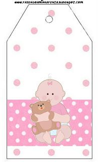 Imprimibles, fondos e imágenes de bebita con osito 7.