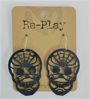 Calavera Earrings Made from Recycled Records by Re-Play and St. Vincent de Paul…