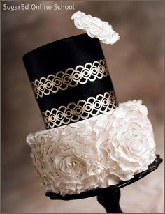 Gold leaf lace and fondant rosettes cake - Cake by Sharon Zambito Black And White Wedding Cake, White Wedding Cakes, Black White, White Cakes, White Gold, Gorgeous Cakes, Pretty Cakes, Divorce Cake, Rosette Cake Tutorial