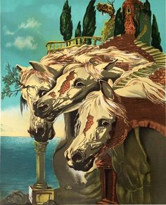Three Horses | Salvador Dali | http://www.yookoo.nl/collections/online-galerie/products/three-horses-salvador-dali