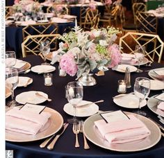 Navy and blush table setting