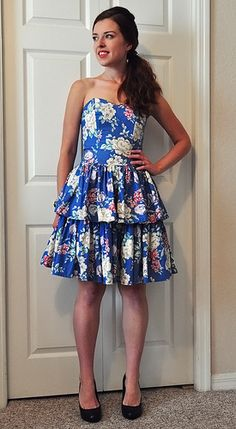 """strapless cotton dress with tiered skirt. Funny how the """"90s"""" floral seems current again!"""