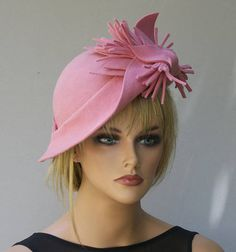 Wedding Hat, Formal Winter Hat, Kate Middleton Hat, Duchess Hat, Dressy Hat, Church Hat, Women's Pink Wool Felt Hat, Melbourne Cup Hat Kentucky Derby, Ladies Day, Felt Hat, Wool Felt, Kate Middleton Hats, Derby Attire, Pink Fascinator, Flapper Hat, Ascot Hats