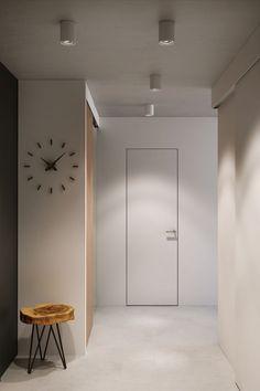 weiße Innentür ohne Zarge führt zum Bad