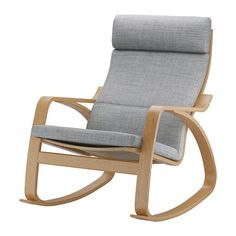 IKEA POÄNG Rocking-chair Oak veneer/isunda grey The frame is made of layer-glued bent oak which is a very strong and durable material. Ikea Poang Chair, Ikea Armchair, Swivel Chair, Ikea Stockholm, Ikea Home, Fabric Armchairs, Affordable Furniture, Living Furniture, Cream Furniture