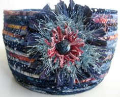 Fabric Wrapped Rope Baskets   Coiled Rope Basket Bowl Shabby Chic Blue Cottage by SallyManke