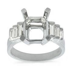 Elegant Graduated Channel Set, Baguette Cut Engagement Ring - 0.60 ctw.