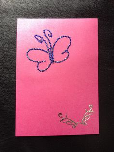 Purple card with purple butterfly