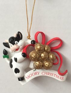 COUNTRY BLACK & WHITE COW VINTAGE 1995 ORNAMENT MOORY CHRISTMAS TRADITIONS