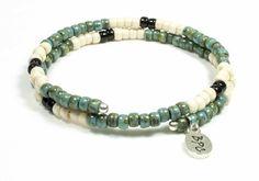 Bracelet créateur mémoire de forme Matubo Picasso turquoise, ivoire et  noire Mémoire De Forme, 091eee6e12e