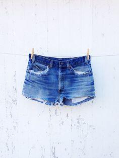 80s High Waist Levi cut off jean shorts 32 waist Orange tag distressed faded festival boho on Etsy, $28.00