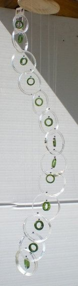 RECYCLING GREY GOOSE bottles into windchimes, eco friendly and green, wind chime, garden decor, glass wind chimes, 242. $40.00, via Etsy.