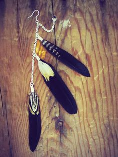 Warrior Earring, Natural Brown and Black Single Feather Earring, Chain Feather Earring, Double Lobe Earring, Double piercing earring