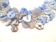 Baby Boy Button Charm Bracelet Blue Buttons  Blue by FunkyPinks