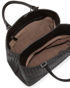 Bottega Veneta Intrecciato Leather Tote Bag, Black