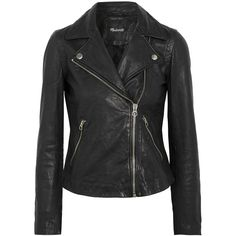 Madewell Washed-leather biker jacket (3.925 NOK) ❤ liked on Polyvore featuring outerwear, jackets, black, moto jacket, cropped leather jacket, cropped moto jacket, rider leather jacket and cropped jacket