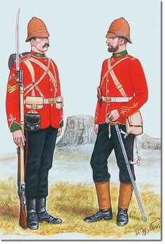 d3c86ab3e13944 British Empire 24th Foot Regiment, Sergeant and Officer, 1879 Military Art,  Military Fashion