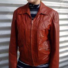 70'S Leather Moto Jacket Coat Rust Tailored M / L