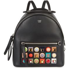 Fendi Black studded leather backpack