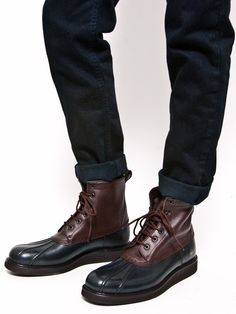 Common Projects - Duck Boot- Brown on Navy at Gargyle