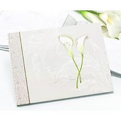 @Overstock - HBH Calla Lily Guest Book - This taupe guest book features an embossed lily and silver foil.  This guest book records 800 signatures.  http://www.overstock.com/Gifts-Flowers/HBH-Calla-Lily-Guest-Book/6979063/product.html?CID=214117 $12.99