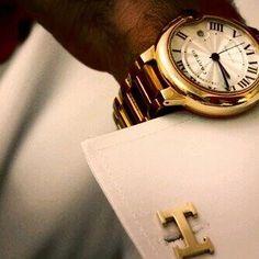 French cuffs, links, & timepiece.