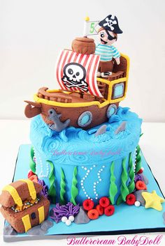 Pirate Ship 5th Birthday Cake by Buttercream Babydoll, via Flickr