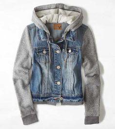 AEO Denim Vested Hoodie - Buy One Get One 50% Off