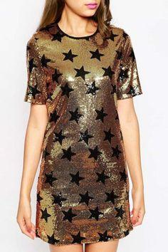 Stylish Women's Star Print Short Sleeve Scoop Neck Dress