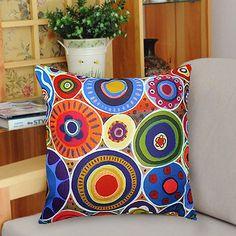 Velvet throw pillowcase cushion covers / Abstract  circle/original FOLK  ART design by Karla Gerard/optional sizes on Etsy, $21.00